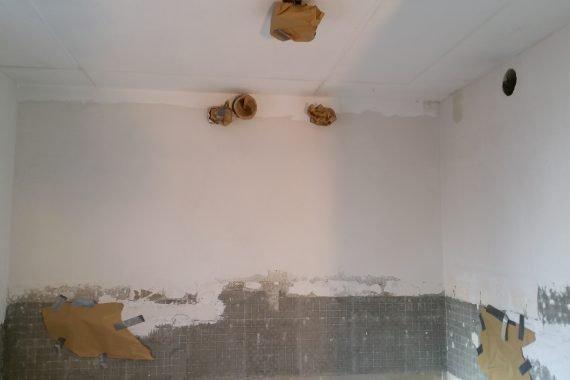 Nieuw gestucte wand keuken latex spuiten