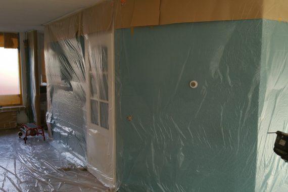wanden afdekken voor latex spuiten plafond