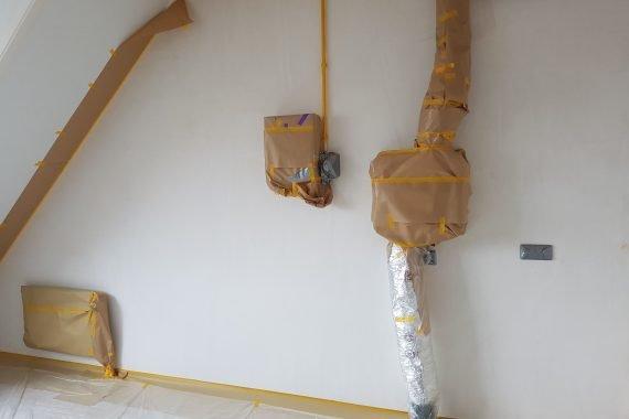 Wanden nieuwbouw voor latex spuiten