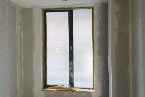 Gipsplaten wanden gerenoveerde woning voor latexspuiten