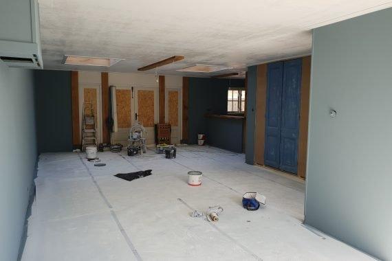 Wanden en plafonds na latex spuiten